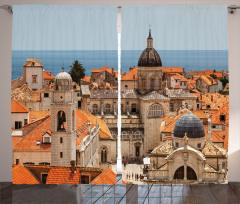 Şehir ve Kilise Temalı Fon Perde Nostaljik