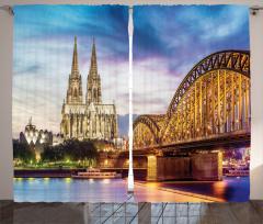 Katedral ve Köprü Fon Perde Antik