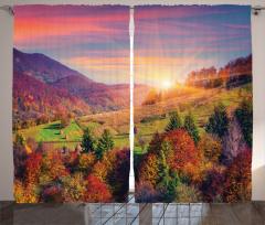 Ağaçlı Dağ Manzarası Fon Perde Dağ Manzaralı