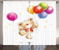 Sevimli Ayı ve Balon Fon Perde Çocuk