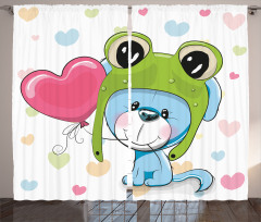 Köpek ve Kalp Desenli Fon Perde Kızlar İçin
