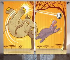 Fil ve Futbol Desenli Fon Perde Erkek Çocuk