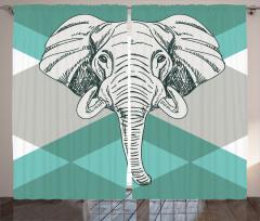 Mavi Fonlu Fil Desenli Fon Perde Şık Tasarım