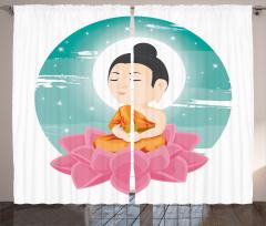 Lotus ve Buda Desenli Fon Perde Meditasyon