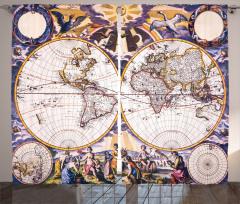 Antik Dünya Haritası Fon Perde Şık Dizayn