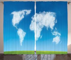 Bulut Dünya Haritası Fon Perde Mavi