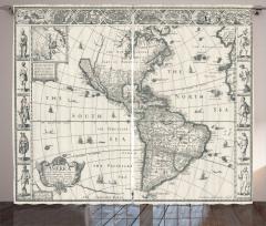 Antik Amerika Haritası Fon Perde Şık
