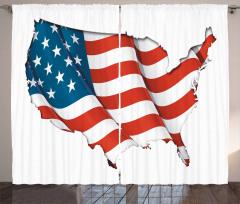ABD Bayrağı Desenli Fon Perde ABD Şekilli