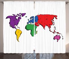 Rengarenk Kıtalar Fon Perde Beyaz