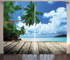 Ahşap İskele ve Deniz Fon Perde Ağaç Bulut Gökyüzü