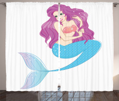Deniz Kızı Desenli Fon Perde Deniz Kızı Desenli Pembe