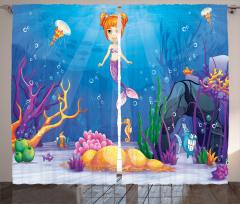 Sevimli Deniz Kızı Fon Perde Sevimli Deniz Kızı Mavi