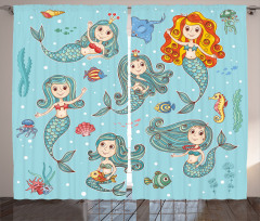 Sevimli Deniz Kızları Fon Perde Sevimli Deniz Kızı Mavi
