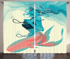 Kolyeli Deniz Kızı Fon Perde Mavi Pembe