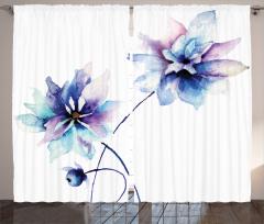 Mavi Çiçekler Fon Perde Çiçek Mavi Mor