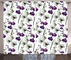 Orkide Desenli Fon Perde Orkide Çeyizlik Mor Beyaz