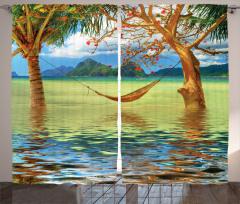 Palmiye ve Hamak Fon Perde Deniz
