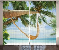 Palmiye ve Deniz Temalı Fon Perde Şık Dizayn