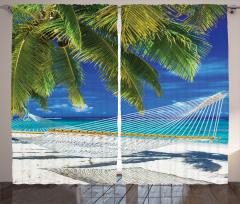 Güneş ve Kumsal Temalı Fon Perde Palmiyeli