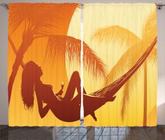 Plaj ve Palmiye Desenli Fon Perde Turuncu