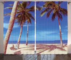 Kumsal ve Palmiye Fon Perde Deniz