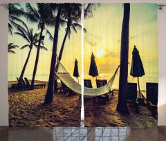Plaj ve Hamak Desenli Fon Perde Palmiyeli
