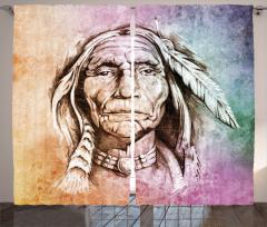 Kızılderili Şefi Fon Perde Dekoratif