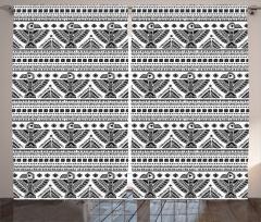 Etmik Kilim Desenli Fon Perde Siyah Beyaz