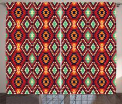 Turuncu Geometrik Desen Fon Perde Dekoratif Şık
