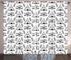 Kuş ve Çadır Desenli Fon Perde Etnik Siyah Beyaz