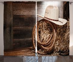 Kovboy Şapkası Desenli Fon Perde Kovboy Kahverengi