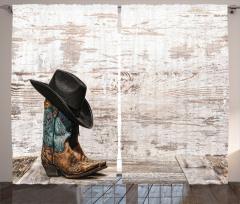 Kovboy Şapkası Çizmesi Fon Perde Nostaljik Kovboy Rodeo