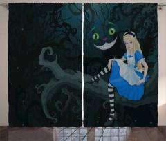 Alice ve Orman Temalı Fon Perde Çocuk İçin