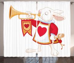 Kalpli Tavşan Desenli Fon Perde Çocuk İçin