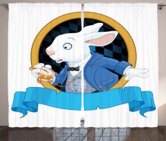 Tavşan Desenli Fon Perde Çocuklar İçin Mavi