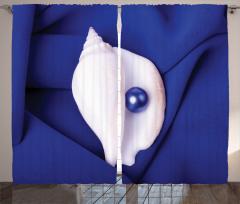 Mavi İnci Desenli Fon Perde Deniz Kabuğu Şık