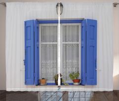 Mavi Pencere Temalı Fon Perde Çiçekli Ahşap