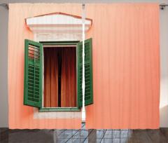 Ahşap Pencere Temalı Fon Perde Yeşil Turuncu