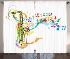 Rengarenk Müzik Temalı Fon Perde Şık Tasarım