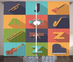 Poster Desenli Fon Perde Müzik Temalı Caz