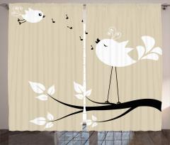 Beyaz Kuş Desenli Fon Perde Şık Tasarım Nota