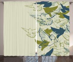 Yeşil Kuş Desenli Fon Perde Şık Tasarım