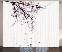 Kiraz Çiçekleri Temalı Fon Perde Şık Tasarım