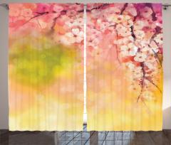 Kiraz Çiçekleri Desenli Fon Perde Çeyizlik