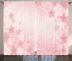 Pembe Kiraz Çiçeği Fon Perde Trend