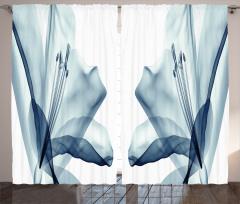 Şık Mavi Çiçek Desenli Fon Perde 3D Etkili