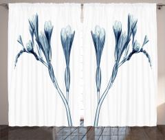 Mavi 3D Çiçek Desenli Fon Perde Dekoratif