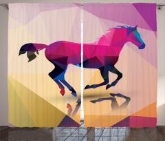 At ve Yansıması Desenli Fon Perde Rengarenk