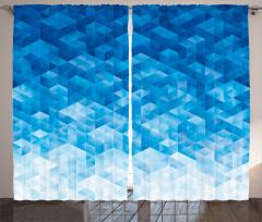 Mavi Geometrik Desenli Fon Perde Şık Model