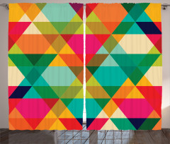 Rengarenk Üçgen Desenli Fon Perde Geometrik